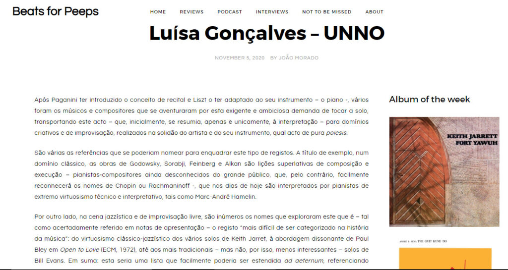 Luisa Gonçalves UNNO review by Beats for Peeps